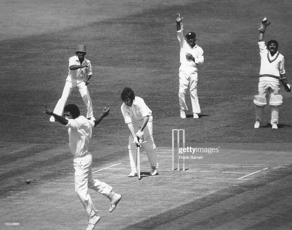 New Zealand batsman John Morrison is bowled LBW by Bernard Julien (left) for five runs during a Cricket World Cup (aka Prudential Cup) match at The Oval, London, 18th June 1975.