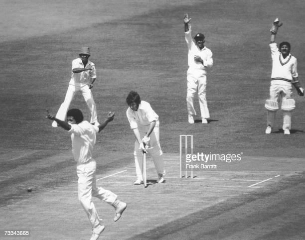 New Zealand batsman John Morrison is bowled LBW by Bernard Julien for five runs during a Cricket World Cup match at The Oval, London, 18th June 1975.