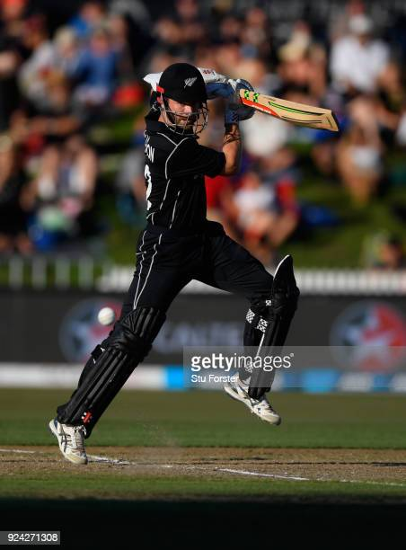 New Zealand batsman Kane Williamson hits out during the 1st ODI between New Zealand and England at Seddon Park on February 25 2018 in Hamilton New...