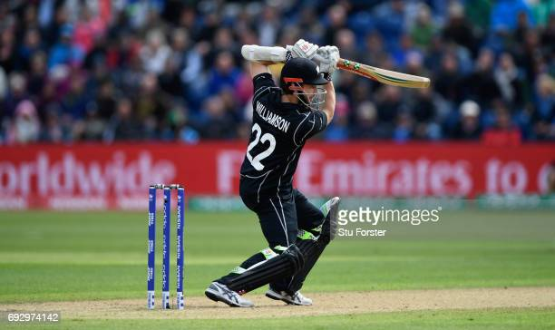 New Zealand batsman Kane Williamson hits out during the ICC Champions Trophy match between England and New Zealand at SWALEC Stadium on June 6 2017...
