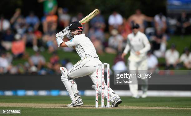 New Zealand batsman Kane Williamson picks up some runs during day two of the Second Test Match between the New Zealand Black Caps and England at...