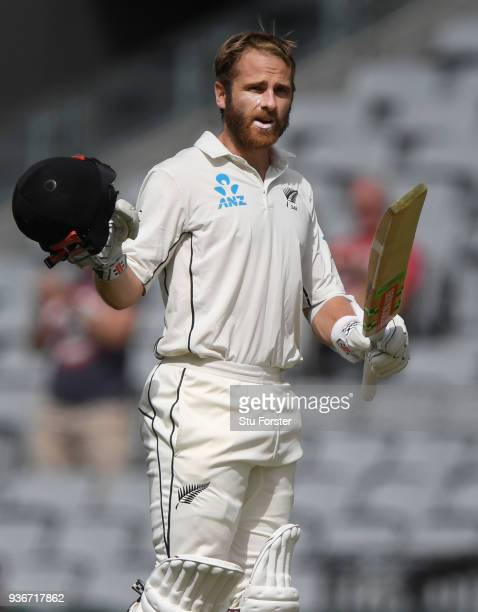 New Zealand batsman Kane Williamson reaches his century during day two of the First Test Match between the New Zealand Black Caps and England at Eden...