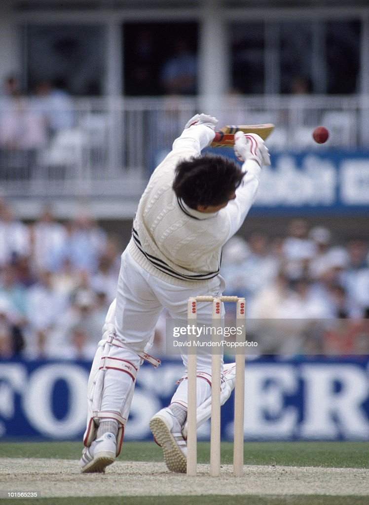 New Zealand batsman Ken Rutherford is struck on the head by a ball from England's Chris Lewis (not in picture) during the 2nd Texaco Trophy One Day International match between England and New Zealand at the Oval in London, 25th May 1990. Rutherford was forced to retire hurt on 0. England won by 6 wickets.