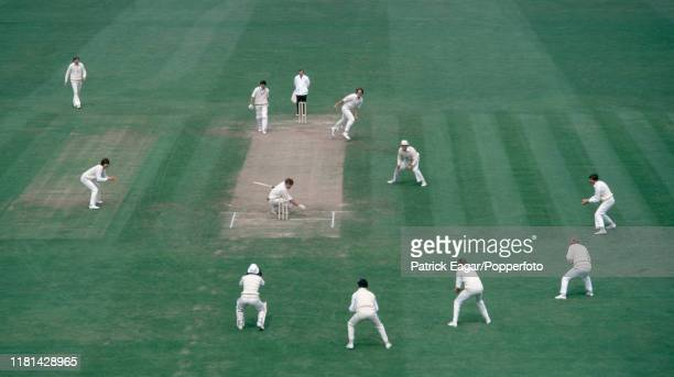 New Zealand batsman Lance Cairns ducks a delivery from England bowler Ian Botham during the 1st Test match between England and New Zealand at The...