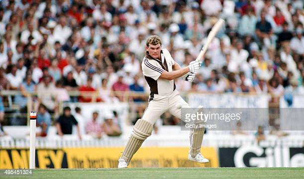 New Zealand batsman Martin Crowe cuts the ball during his unbeaten 105 during the 3rd ODI between New Zealand and England at Eden Park on February 25...