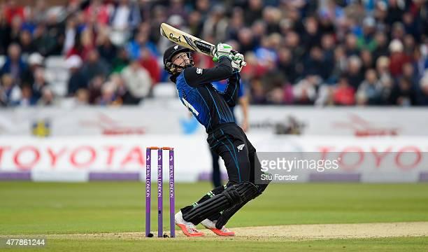 New Zealand batsman Martin Guptill cuts a ball for 6 runs during the 5th Royal London One day international between England and New Zealand at...