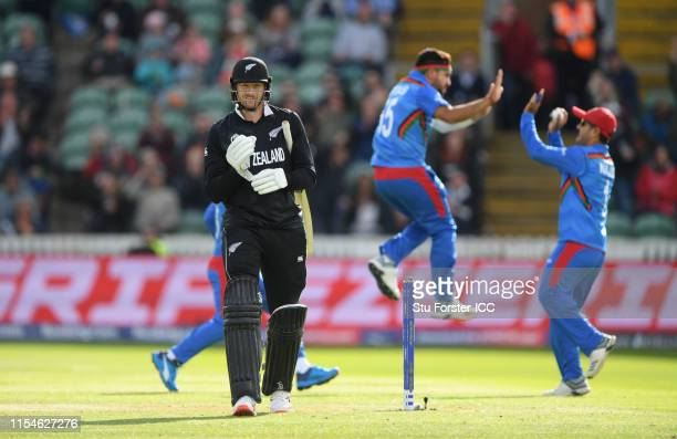 New Zealand batsman Martin Guptill reacts after being dismissed first ball by Aftab Alam during the Group Stage match of the ICC Cricket World Cup...