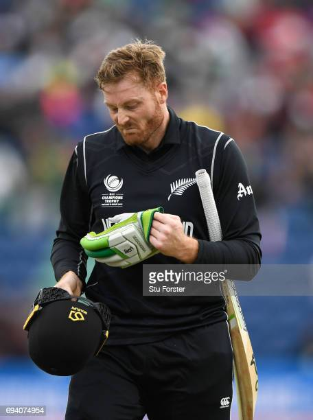 New Zealand batsman Martin Guptill reacts after being dismissed during the ICC Champions Trophy match between New Zealand and Bangladesh at SWALEC...