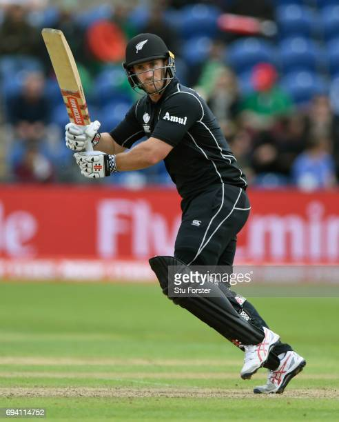 New Zealand batsman Neil Broom hits out during the ICC Champions Trophy match between New Zealand and Bangladesh at SWALEC Stadium on June 9 2017 in...