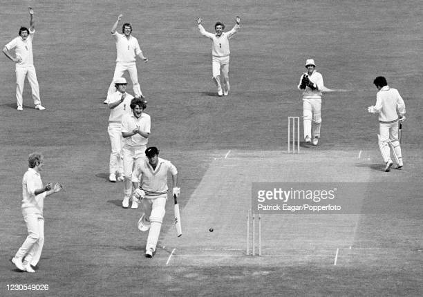 New Zealand batsman Robert Anderson is run out for 0 by a direct hit from David Gower of England during the 2nd Test match between England and New...