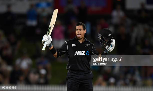 New Zealand batsman Ross Taylor celebrates his century during the 1st ODI between New Zealand and England at Seddon Park on February 25 2018 in...