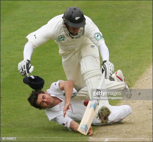 New Zealand batsman Ross Taylor collides with James Anderson of England as Anderson attempts to run out Taylor during the 3rd Test match between...