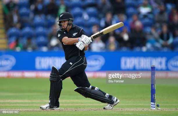 New Zealand batsman Ross Taylor hits out during the ICC Champions Trophy match between New Zealand and Bangladesh at SWALEC Stadium on June 9 2017 in...