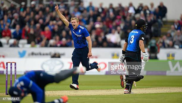 New Zealand batsman Ross Taylor walks off as bowler David Willey celebrates his wicket being caught by Jonny Bairstow during the 5th Royal London One...