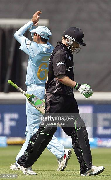New Zealand batsman Scott Styris walks the game after been caught out for 2 runs at the Wanderers Stadium in Johannesburg 16 September 2007 during...