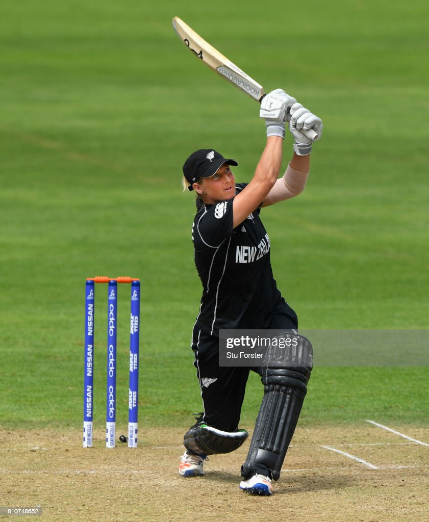 New Zealand batsman Sophie Devine hits out during the ICC Women's World Cup 2017 match between New Zealand and Pakistan at The Cooper Associates County Ground on July 8, 2017 in Taunton, England.