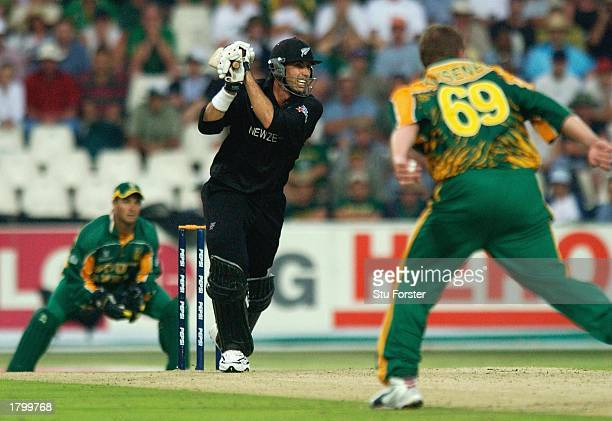 New Zealand batsman Stephen Flemming scores some more runs off Lance Kluesner, during the Pool B Game between New Zealand and South Africa, at The...
