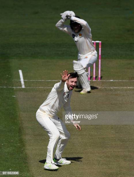 New Zealand batsman Tom Blundell survives a confident appeal from England bowler James Vince during day one of the Test warm up match between England...