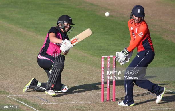 New Zealand batter Amelia Kerr tries to sweep the ball past England wicketkeeper Sarah Taylor but is trapped LBW during the T20 Tri Series match at...