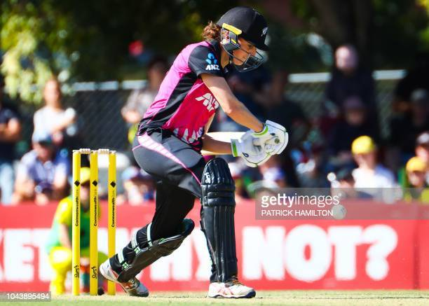 New Zealand batter Amy Satterthwaite cuts during the women's T20 match between Australia and New Zealand at Allan Border Field in Brisbane on October...