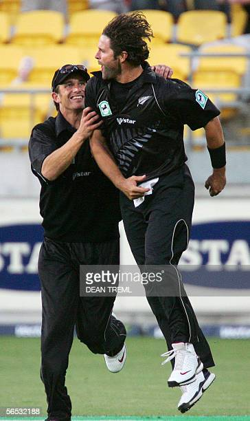 New Zealand Black Caps Chris Cairns celebrates catching Jehan Mubarak for 53 with team mate Sahne Bond during the 3rd ODI of the four match series...