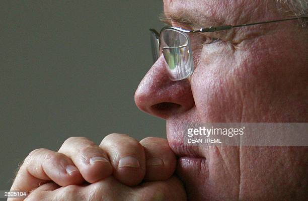 New Zealand Black Caps coach John Bracewell watches play during day three of the first test between New Zealand and Pakistan at WestPac Trust Park...