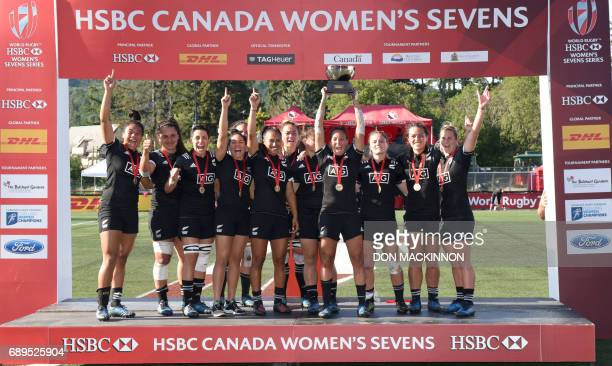 New Zealand Black Fern Sevens celebrate on the podium after their 177 gold final victory over Canada in the Women's Sevens Rugby Canada tournament at...
