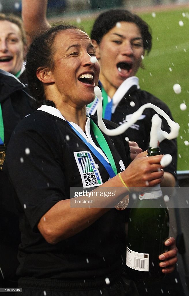 New Zealand Black Ferns Captain Farah Palmer #2 pops champagne as the Black Ferns celebrate after their victory over England in the World Cup Final match between England and New Zealand on day six of the Women's Rugby World Cup 2006 at the Commonwealth Stadium on September 17, 2006 in Edmonton, Alberta, Canada. The Black Ferns clinched their third Rugby World Cup in a row.