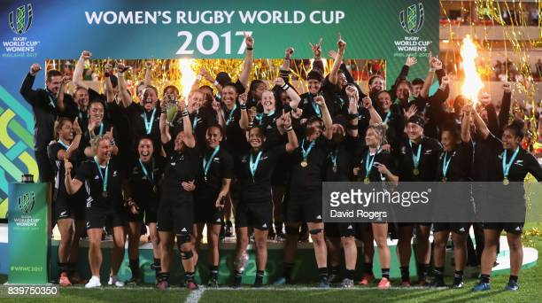 New Zealand Black Ferns celebrate their victory during the Women's Rugby World Cup 2017 Final betwen England and New Zealand at the Kingspan Stadium...