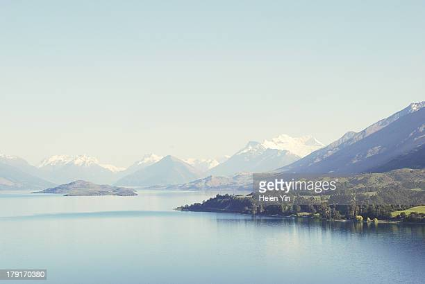 new zealand blue snow peaked landscape - queenstown stock pictures, royalty-free photos & images