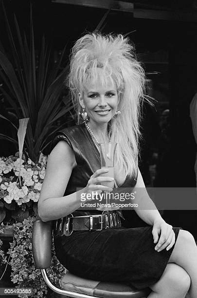 New Zealand born actress and comedian Pamela Stephenson pictured wearing a leather style sleeveless top and suede skirt in London on 15th May 1984