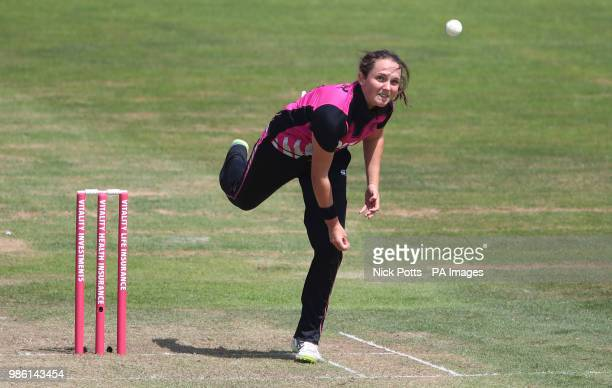 New Zealand bowler Amelia Kerr during the T20 Tri Series match at the Brightside Ground Bristol