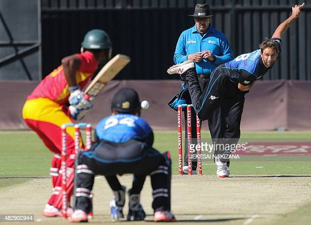 New Zealand bowler Grant Elliot plays a shot during the second game in a series of three One Day International cricket matches between Zimbabwe and...