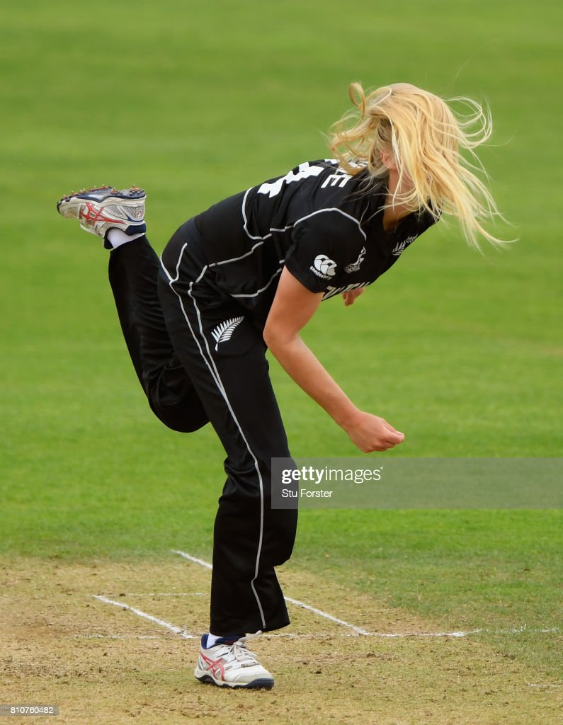 New Zealand bowler Hannah Rowe in action during the ICC Women's World Cup 2017 match between New Zealand and Pakistan at The Cooper Associates County Ground on July 8, 2017 in Taunton, England.