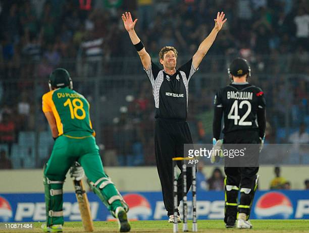 New Zealand bowler Jacob Oram reacts after the dismissal of South African batsman Faf du Plessis during the quarterfinal match of the ICC Cricket...