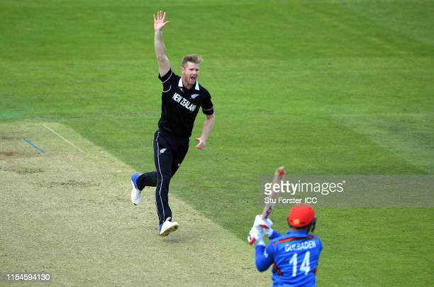 New Zealand bowler Jimmy Neesham celebrates after dismissing Afghanistan batsman Gulbadin Naib during the Group Stage match of the ICC Cricket World...