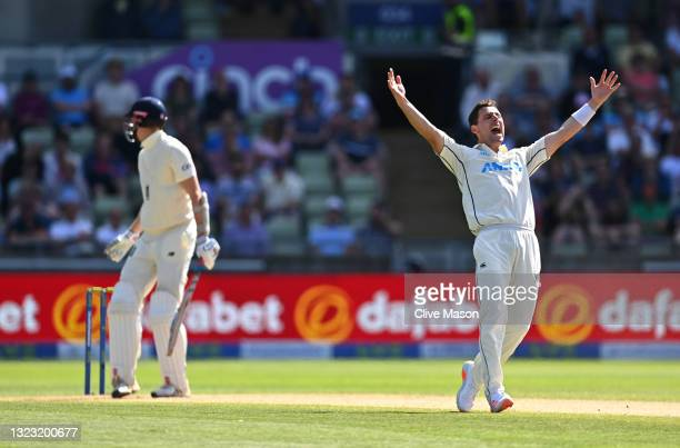 New Zealand bowler Matt Henry appeals with success for the wicket of England batsman Zak Crawley during day three of the second LV= Insurance Test...