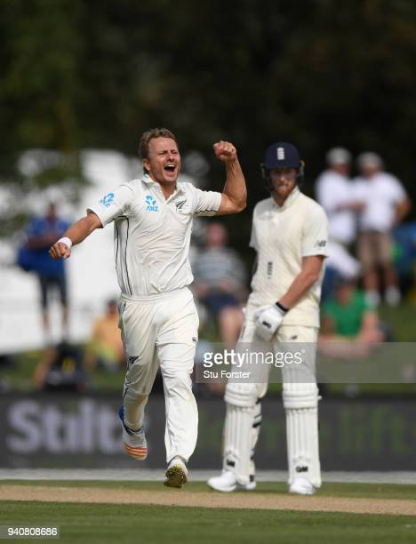 New Zealand bowler Neil Wagner celebrates after dismissing Joe Root during day four of the Second Test Match between the New Zealand Black Caps and...