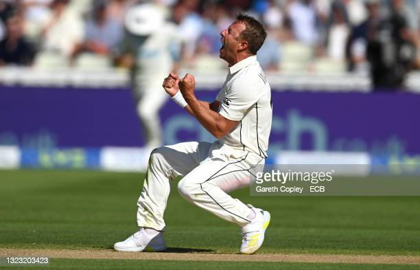New Zealand bowler Neil Wagner celebrates after taking the wicket of England batsman Ollie Pope after review during day three of the second LV=...