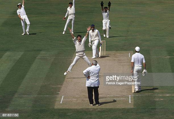 New Zealand bowler Richard Hadlee appeals for and gets the wicket of England batsman Bill Athey during the 3rd Test match between England and New...