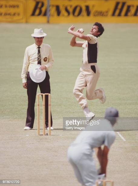 New Zealand bowler Richard Hadlee bowls to England batsman Chris Tavare during a Benson and Hedges One Day Series Match on January 15, in Brisbane,...