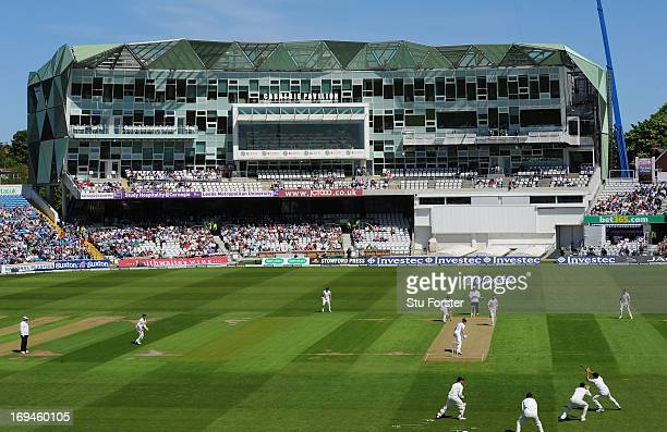 New Zealand bowler Tim Southee looks on as England batsman Nick Compton turns to see him being caught at slip during day two of 2nd Investec Test...