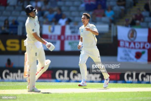 New Zealand bowler Trent Boult celebrates after dismissing Joe Root for 0 during the First Test Match between the New Zealand Black Caps and England...
