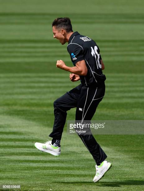New Zealand bowler Trent Boult celebrates dismissing Jason Roy during the 3rd ODI between New Zealand and England at Westpac stadium on March 3 2018...