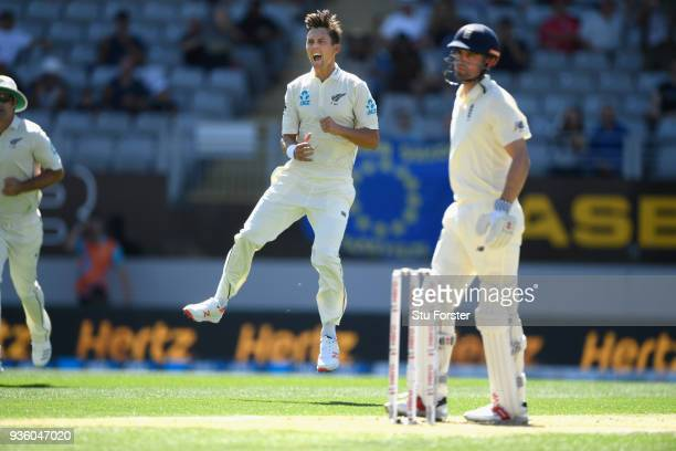 New Zealand bowler Trent Boult celebrates the first wicket of Aalastair Cook during day one of the First Test Match between the New Zealand Black...