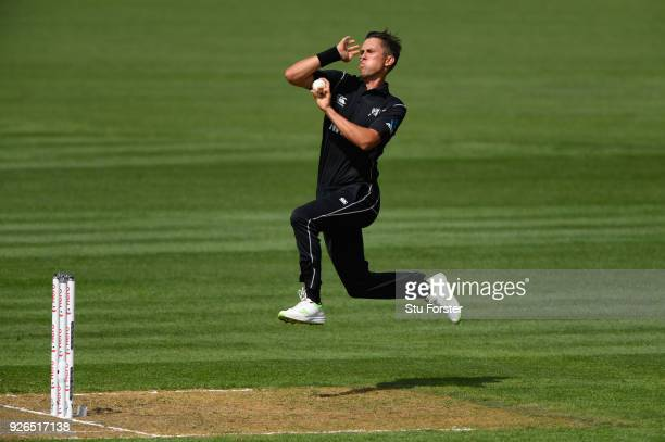 New Zealand bowler Trent Boult in action during the 3rd ODI between New Zealand and England at Westpac stadium on March 3 2018 in Wellington New...