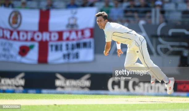 New Zealand bowler Trent Boult in action during the First Test Match between the New Zealand Black Caps and England at Eden Park on March 22 2018 in...