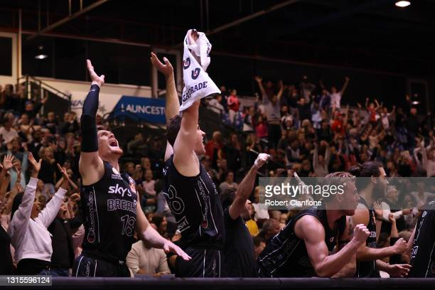 New Zealand Breakers celebrate their victory during the round 16 NBL match between the New Zealand Breakers and Perth Wildcats at Silverdome, on May...