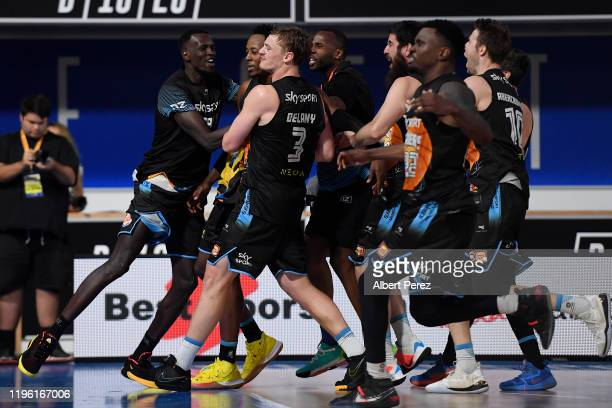 New Zealand Breakers players celebrate after Scotty Hopson scored a match winning 3point shot during the round 13 NBL match between the Brisbane...