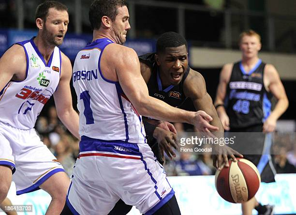New Zealand Breakers point guard Kerron Johnson is defended by Adam Gibson during the round four NBL match between the New Zealand Breakers and the...